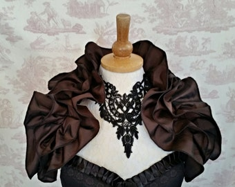 Steampunk  Dark Brown Ruffle Opera Shrug Cosplay