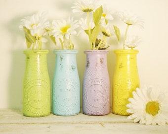 Painted Milk Bottle decor, wedding decor, table decor, party decor, Fall decor, holiday decor, rustic decor,vase, flower vase