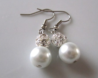 White pearl earrings with ball rhinestone - Bridal earrings - Bridesmaids earrings