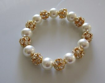 Pearl pracelet with gold rhinestone balls, Bridal bracelet, Bridesmaid bracelet