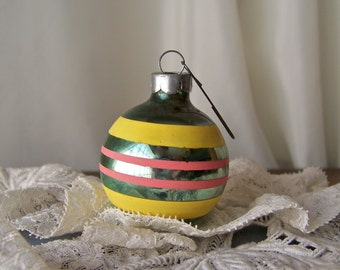 Vintage Christmas Ornament Glass Ball Retro Ornament Christmas Tree Yellow and Pink Stripe Ornament Mid Century Vintage 1950s
