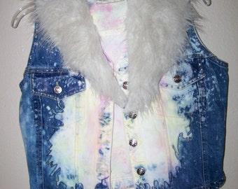 50 % Off Wild Denim Vest, retro Punk with color  Sz. Sm.  FREE S&H