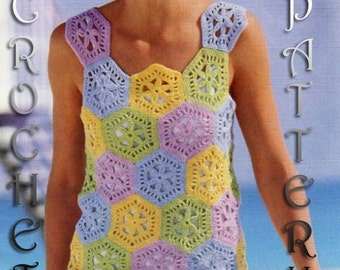 Woman Crochet Summer sleveless Top .Pattern with written instruction and charts Very easy to follow in PDF FILES