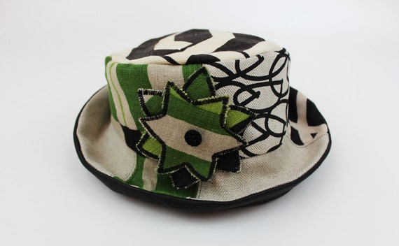 Green and Black Graphic Hat with Leather Brim