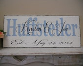 Rustic, vintage, shabby chic, Personalized, Established date, Wedding sign.