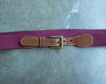 Vtg Dooney & Bourke Wool Surcingle and Leather Belt Maroon Woven Size 34