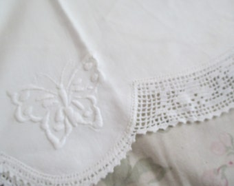 Shabby Chic Vintage White Pillowcase Embroidered Butterfly Hand Crochet Trim  C105