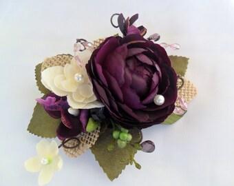 Purple Hairpiece, Woodland Hairpiece, Plum Purple Hair Flower, Bridal Hairpiece, Floral Hairpiece, Rustic Hairpiece, Shabby Chic Hairpiece