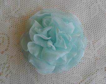 Turquoise Bridal hair flower, Wedding hair accessory, Aqua Blue hair flower, Chiffon hair flower, Wedding hair flower, YOUR CHOICE COLOR