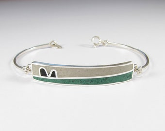 Sterling Silver Bracelet, Green, White, Black, Contemporary, Modern