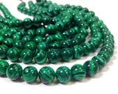 8 mm. A Grade Malachite Smooth Round Beads 15.5 Inch Strand (MJ0001R15Q3-BHM3) Reconstituted