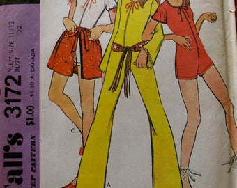 McCall's 3172 Hard to Find, Uncut Factory Folded, Young Junior Jumpsuit and Skirt