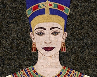 """Queen Nefertiti, Set of 4 Original Fabric Art Greeting cards by RemnantWorks, 5""""  x 7"""" card stock"""