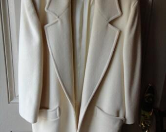 SALE White Wool Outerwear Jacket
