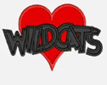 Heart Wildcats...Embroidery Applique Design...Three sizes for multiple hoops...Item1543...INSTANT DOWNLOAD