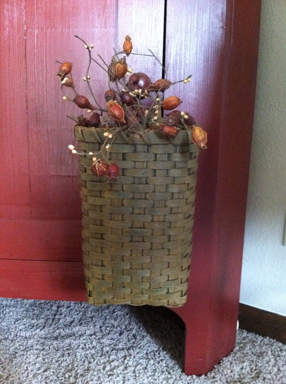 Handmade Peg Baskets : Peg basket handwoven primitive style