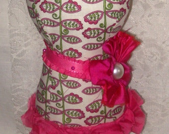 Dress Form Mannequin Mademoiselle Rita Pincushion, Jewelry Holder, Home Decor OOAK