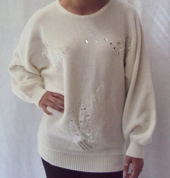 80s white puff sleeve sweater / crew neck / slouchy / delicate crystals / s, m