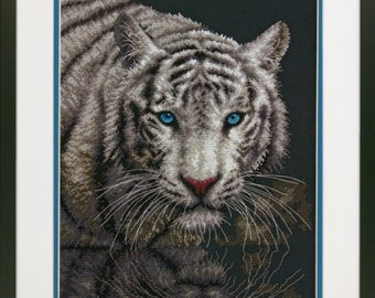 Cross Stitch Kit - INTO THE LIGHT - Dimensions White Tiger Counted Cross Stitch Needlework Kit Dimensions Kit - Tiger Cross Stitch
