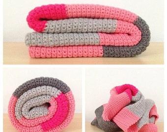 Simple Crochet Baby Blanket Pattern, Color Block Crochet Blanket Pattern, Easy Crochet Baby Blanket Pattern