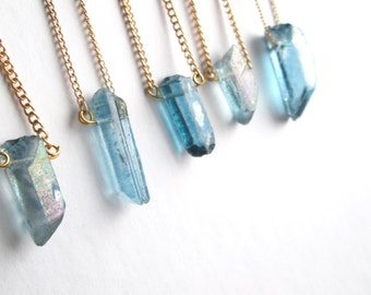 Gold Aqua Aura Luster stone Point Necklace