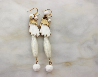 White Pearl Duster Drop OOAK Reconstructed Vintage Jewelry