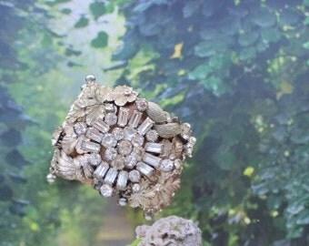 Rhinestone Statement Cuff Bride Wedding Vintage Costume Jewelry Cuff Bracelet