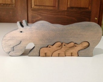 Wooden Hippo Family Scroll Saw Puzzle - Handmade - 4 Pieces - Stained