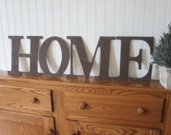 Vintage Style HOME sign, Rusty Metal Letters HOME, HOME sign, Rusty letters, Rustic home decor, wall art decor wood