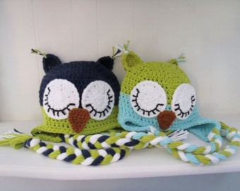 Crochet Owl Hat - Sleepy Owl or Awake Owl - Newborn to Adult - You Choose Colors and Size - Made to Order
