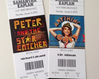 Broadway Show Theater Wedding Bat Mitzvah Bar Mitzvah ticket place cards seating DEPOSIT
