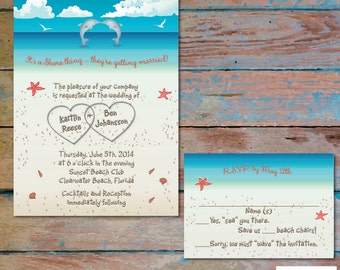 Kissing dolphins Beach wedding invitation with Hearts in sand Seashells Aqua PRINTABLE