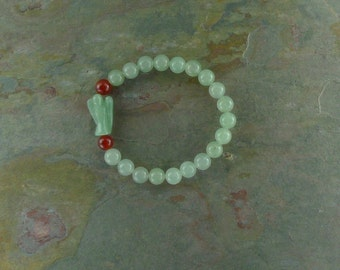 AVENTURINE & CARNELIAN w/ Aventurine ANGEL Chakra Stretch Bracelet All Natural Semi-Precious Stones Healing Metaphysical