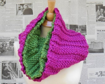 Pink and Green Garter Ridge Cowl