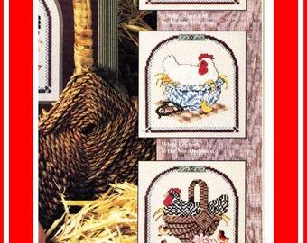 Cross Stitch Patterns - NESTING CHICKENS & HENS Folk Art - 1988 Cross Stitch Country Crafts Magazines - Rhode Island Red White Leghorn