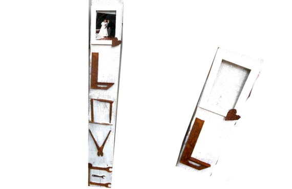 LOVE sign for rustic weddings, or family home, barn, tack room, etc. frame att'd for photo, old rusty tools