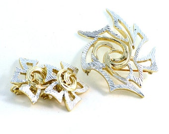 Vintage Sarah Cov Brooch and Earrings in Modern Gold and Silver Design