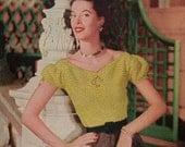 1950's Women's Peasent Crochet Top Pattern PDF