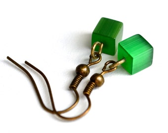 Green Cats Eye Glass Cubes . Earrings
