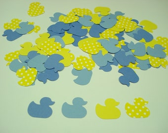 Yellow & blue duck confetti, Baby shower, 100  punches in yellow, polka dot, and blue scrapbook embellishments