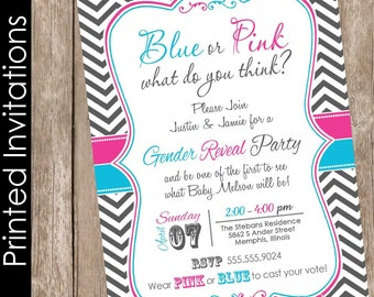 Gender reveal baby shower invitation pink and blue invitation gender reveal baby shower gender reveal party chevron invite (FREE ENVELOPES)