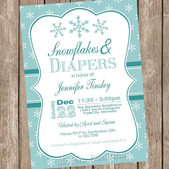 Items Similar To Snowflake Baby Shower Invitation, Winter Baby Shower Invitation, Holiday Baby