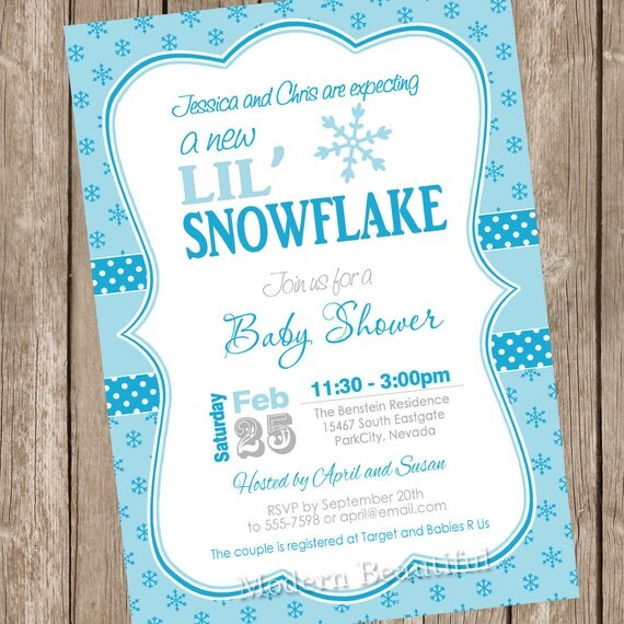 little snowflake baby shower invitation winter baby shower, Baby shower invitations