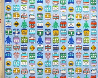 Train printed fabric half  yard light blue colour Half yard