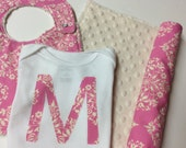 Personalized Baby Girl Gift Set, Amy Butler Park Fountains in Fuschia Pink with Cream Minky Dot, Bib, Burp Cloth,