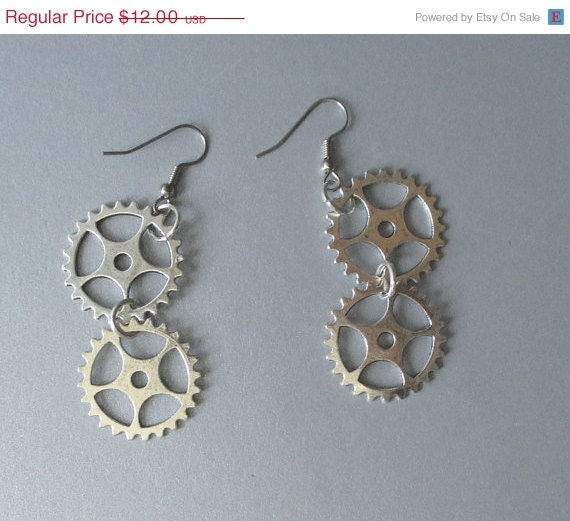 25% off Double Gear Dangle Earrings Steampunk