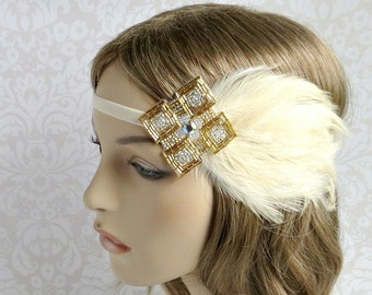 Gatsby Headband, 20s Wedding Cream Feather Headband, 1920s Headpiece, Flapper Headband, Gatsby Headpiece, Gold Silver Headpiece, Art Deco