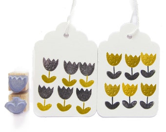 2 rubber stamps - TULIPS