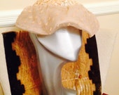 50s - 60s cream lace hat with curved brim  from Lazarus  columbus oh