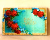 "Victorian Red Roses ""Best Wishes"" Sign, Handmade, Detailed Vintage Style"
